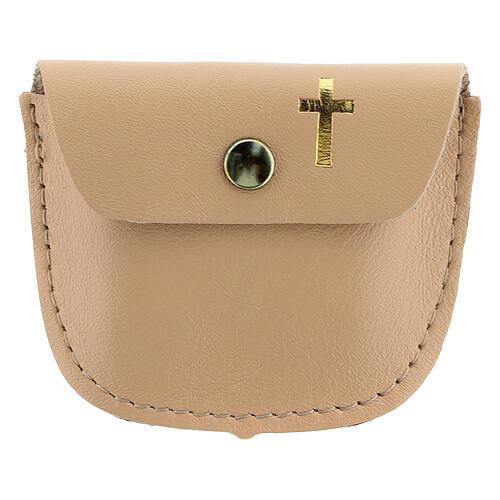 Beige leather rosary case golden cross 6.5x8 cm 1