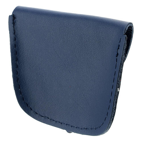 Dark blue leather rosary case golden cross 6.5x8 cm 2
