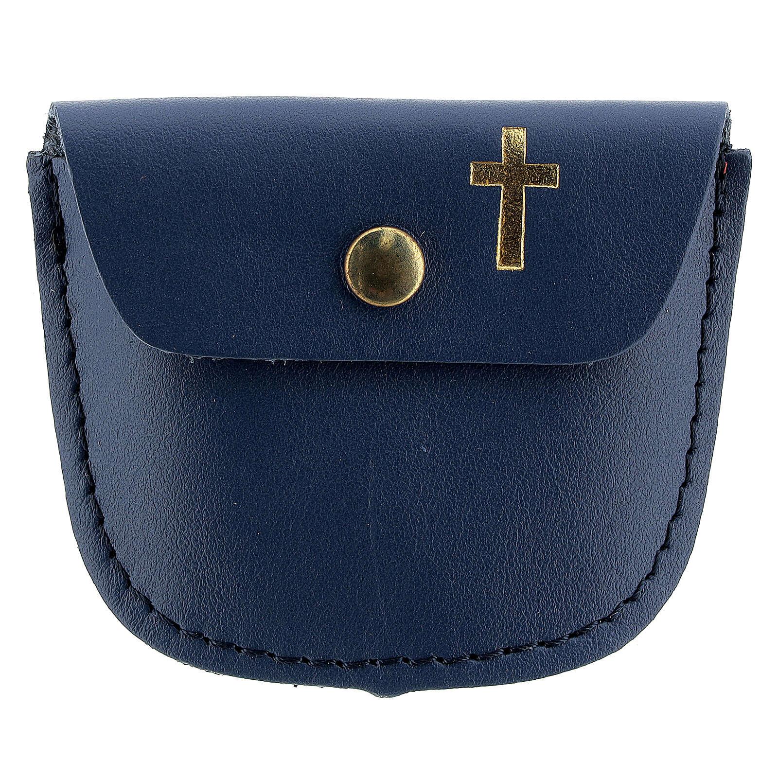 Étui chapelet bleu croix latine dorée 6,5x8 cm 4