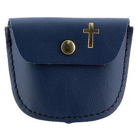 Étui chapelet bleu croix latine dorée 6,5x8 cm s1