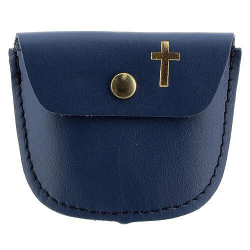 Étui chapelet bleu croix latine dorée 6,5x8 cm 1