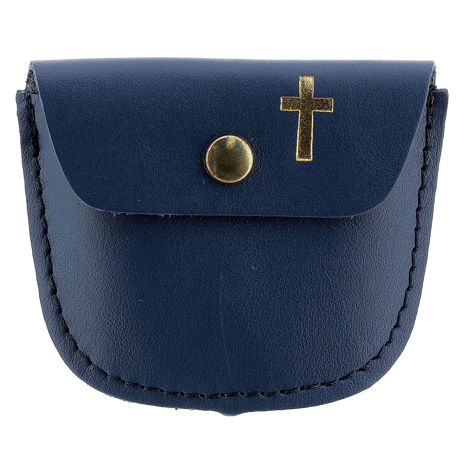 Rosary case dark blue leather with golden latin cross 2x3 in 4