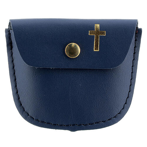 Rosary case dark blue leather with golden latin cross 2x3 in 1