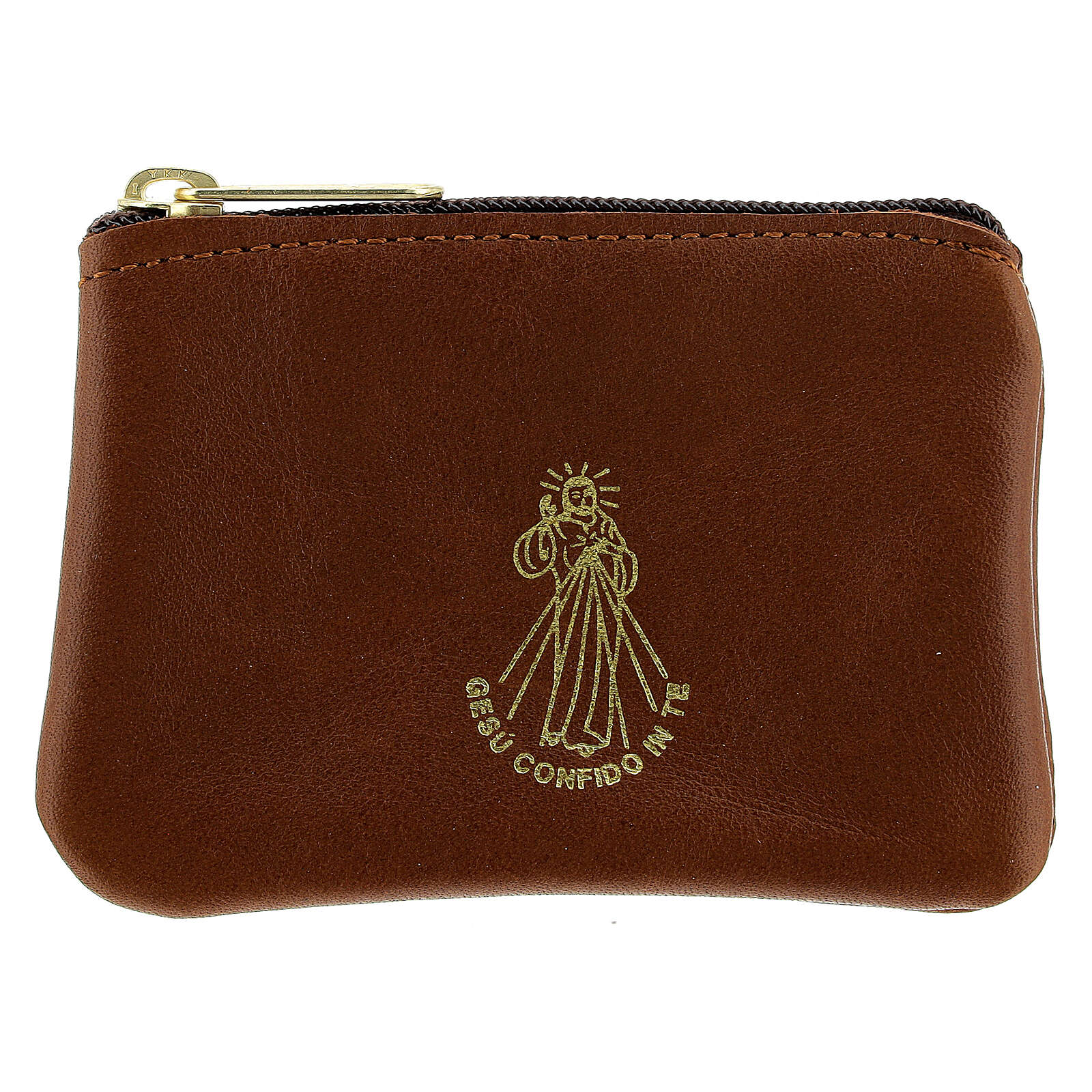 Brown leather rosary case with zipper Divine Mercy 3x4 in 4