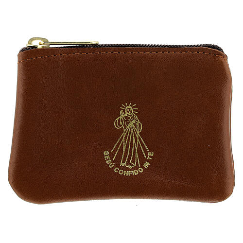 Brown leather rosary case with zipper Divine Mercy 3x4 in 1