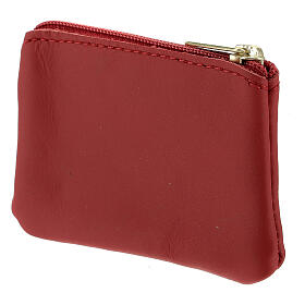 Red leather rosary case with zipper Divine Mercy 3x4 in s2