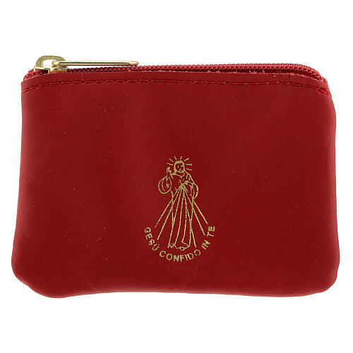 Red leather rosary case with zipper Divine Mercy 3x4 in 1
