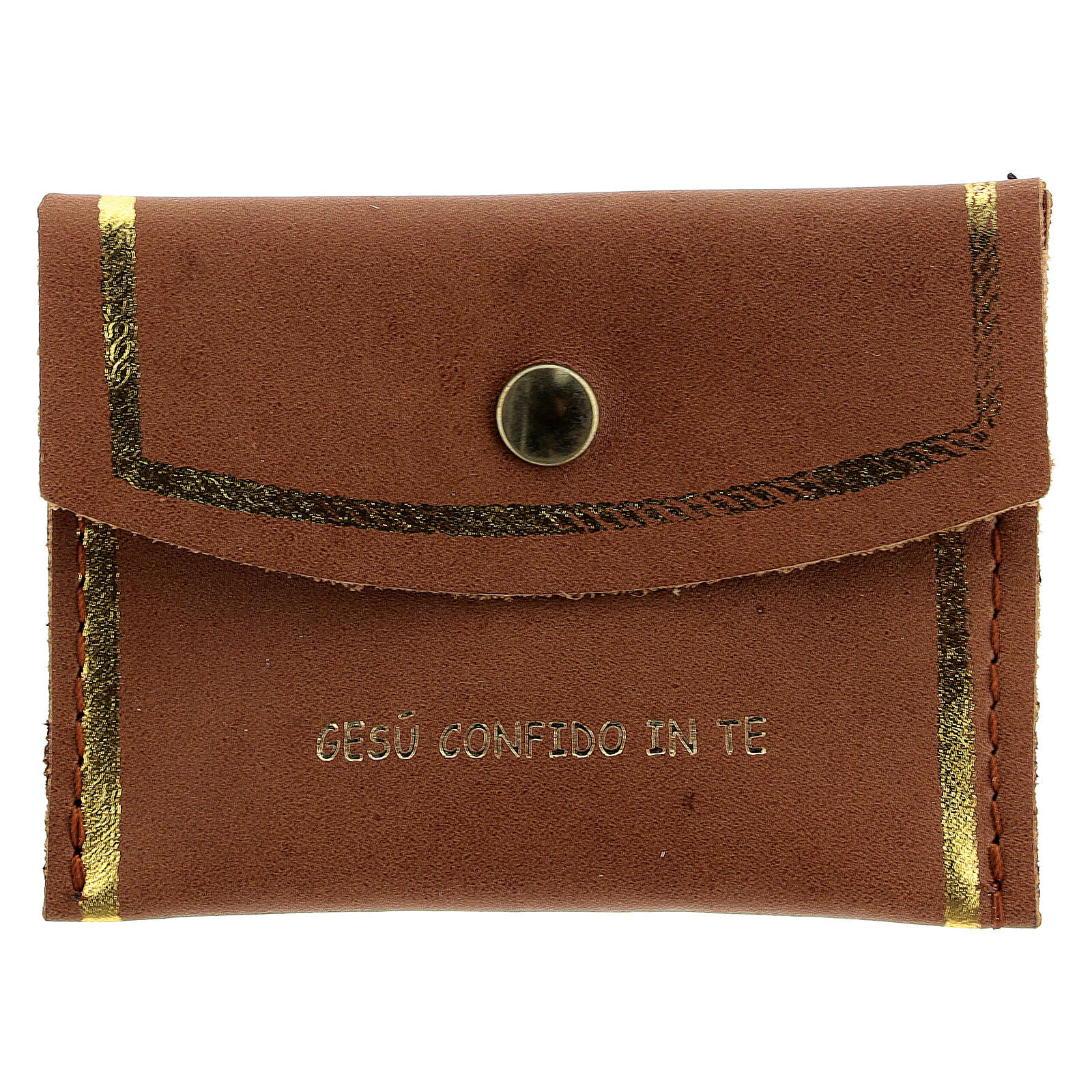 Brown leather rosary case Divine Mercy 3x3 in 4