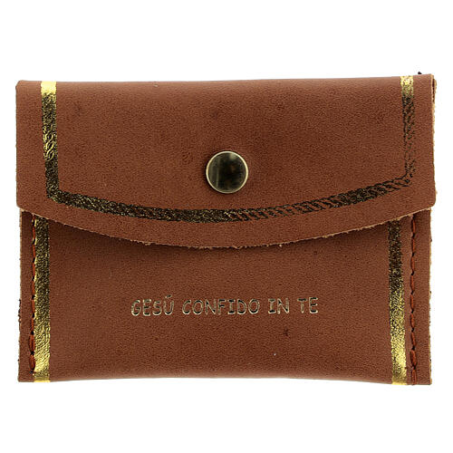 Brown leather rosary case Divine Mercy 3x3 in 1