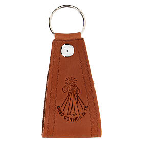 Brown leather keyring Jesus I trust you s1