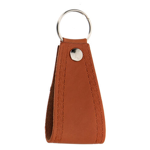 Brown leather keyring Jesus I trust you 2