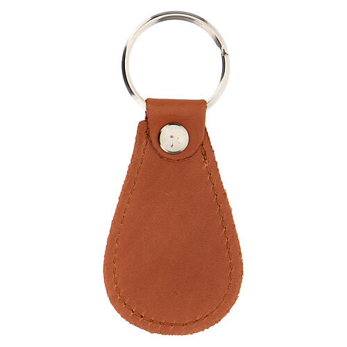 Drop-shaped keyring Divine Mercy real leather 4 in 2