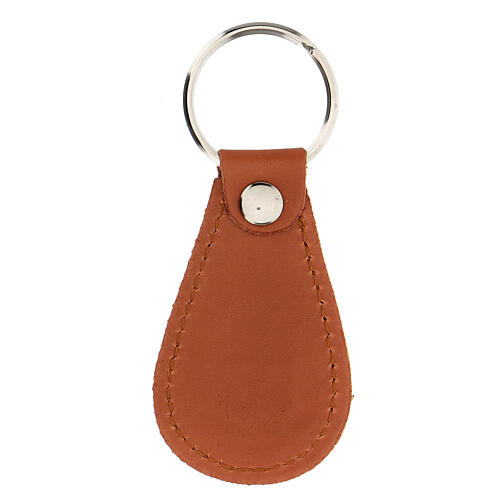 St Christopher drop-shaped keyring Gute Fahrt real leather 2