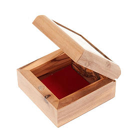 Pudełeczko na różaniec drewno oliwne Krzyż s3