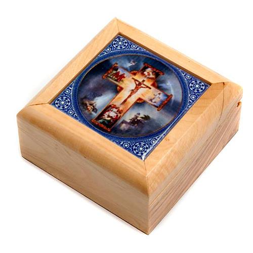 Pudełeczko na różaniec drewno oliwne Krzyż 1
