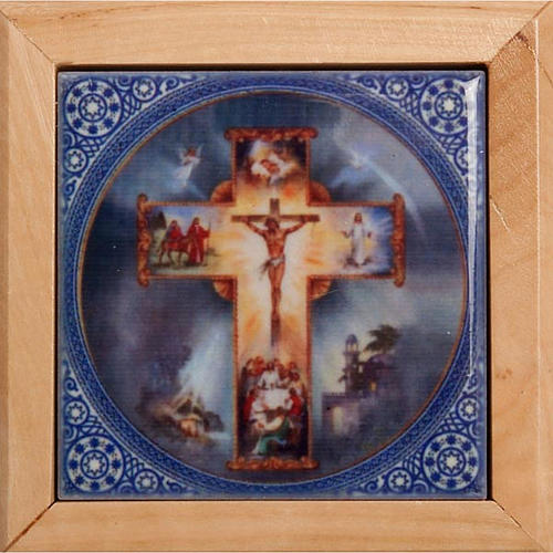 Pudełeczko na różaniec drewno oliwne Krzyż 2
