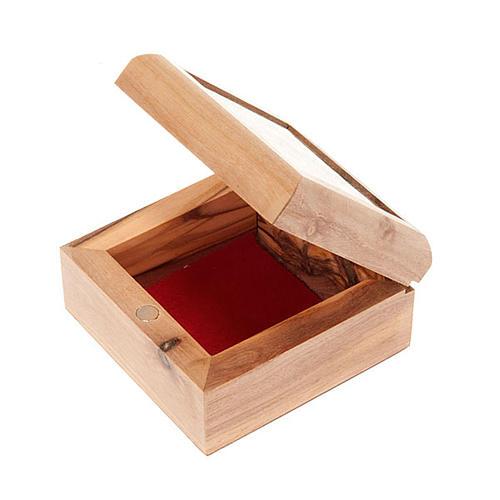 Pudełeczko na różaniec drewno oliwne Krzyż 3