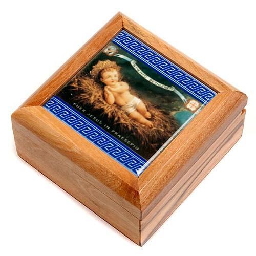 Pudełeczko na różaniec drewno oliwne Dzieciątko Jezus 1