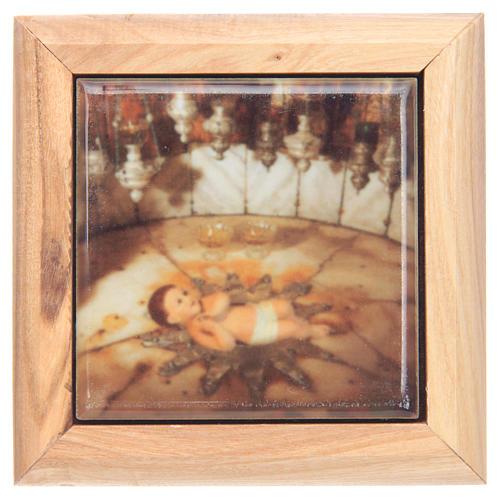 Rosary case in olive wood, baby Jesus Bethlehem 1