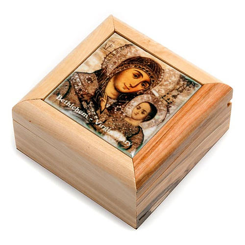 Rosary box in olive wood, Mary and baby 1