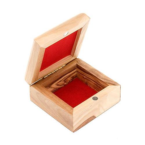 Portarosario caja de olivo Virgen con Niño riza 3
