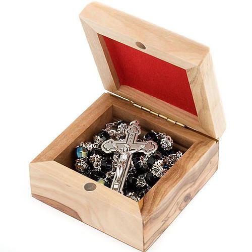 Portarosario scatola olivo Madonna con bambino 2