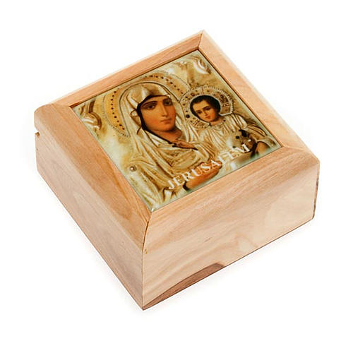Pudełeczko na różaniec drewno oliwne Madonna z Dzieciątkiem 1