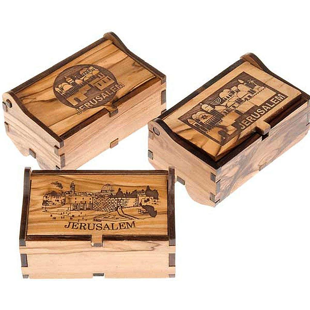Portarosario olivo scatola Jerusalem paesaggio 4