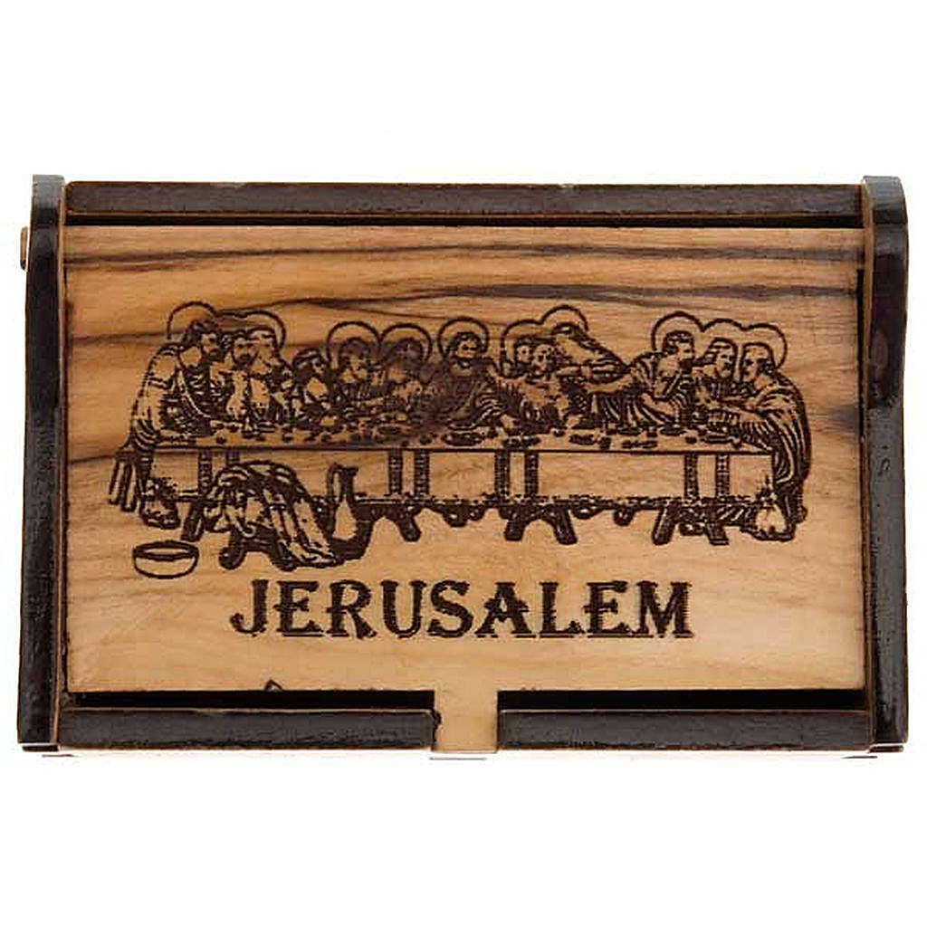 Rosary case Jerusalem made of olive wood, The Last Supper 4