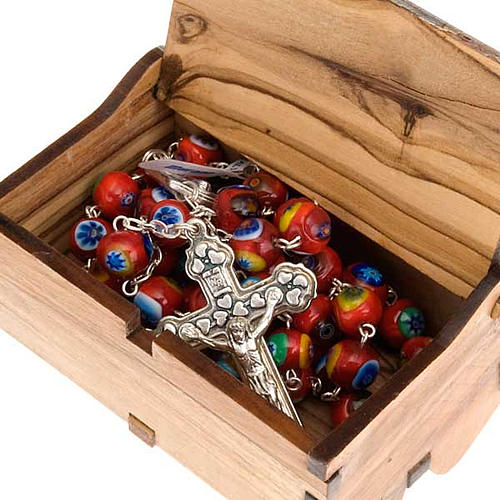 Rosary case Jerusalem made of olive wood, The Last Supper 5