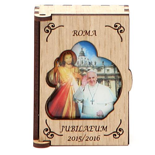 STOCK Portarosario legno Giubileo Papa 1
