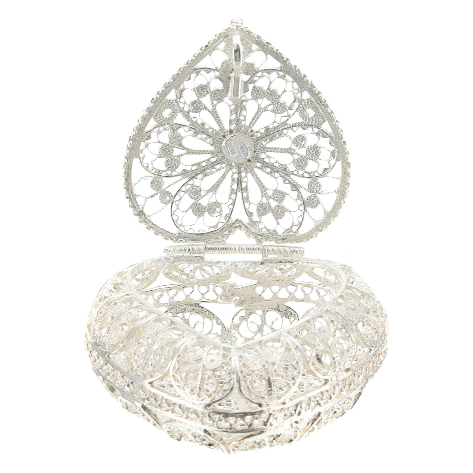 Caja para rosario filigrana de plata 800 en forma de corazón 4