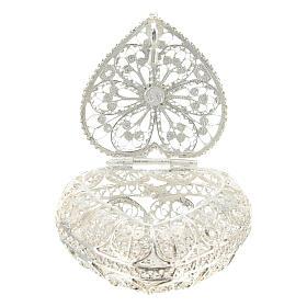 Caja para rosario filigrana de plata 800 en forma de corazón s3