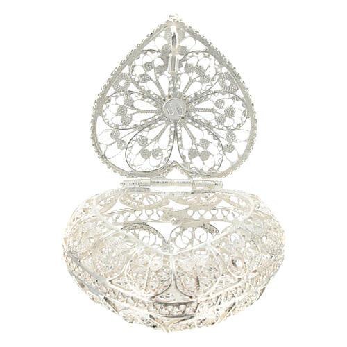 Caja para rosario filigrana de plata 800 en forma de corazón 3