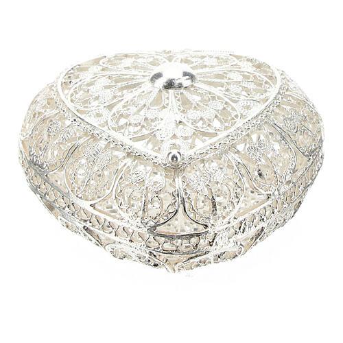 Portarosario filigrana in argento 800 a forma di cuore 1