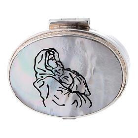 Caja para rosario de plata 925 con Virgen Ferruzzi s2