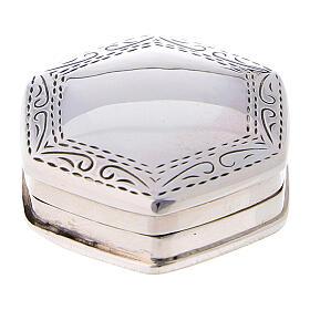 Caja para rosario hexagonal de plata 925 con incisiones s1
