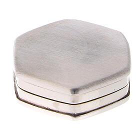 Caja para rosario hexagonal de plata 925 con incisiones s3