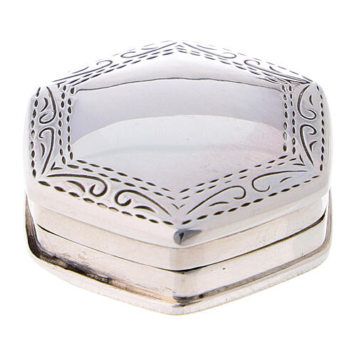 Caja para rosario hexagonal de plata 925 con incisiones 1