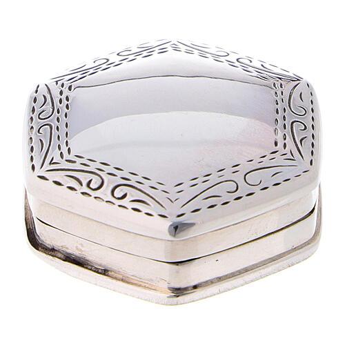 Portarosario esagonale in argento 925 con incisioni 1