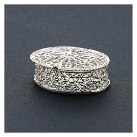 Portarosario ovale in argento 800 con incisioni s2