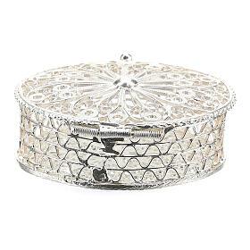 Portarosario ovale in argento 800 con incisioni s4