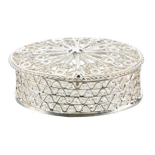 Portarosario ovale in argento 800 con incisioni 1