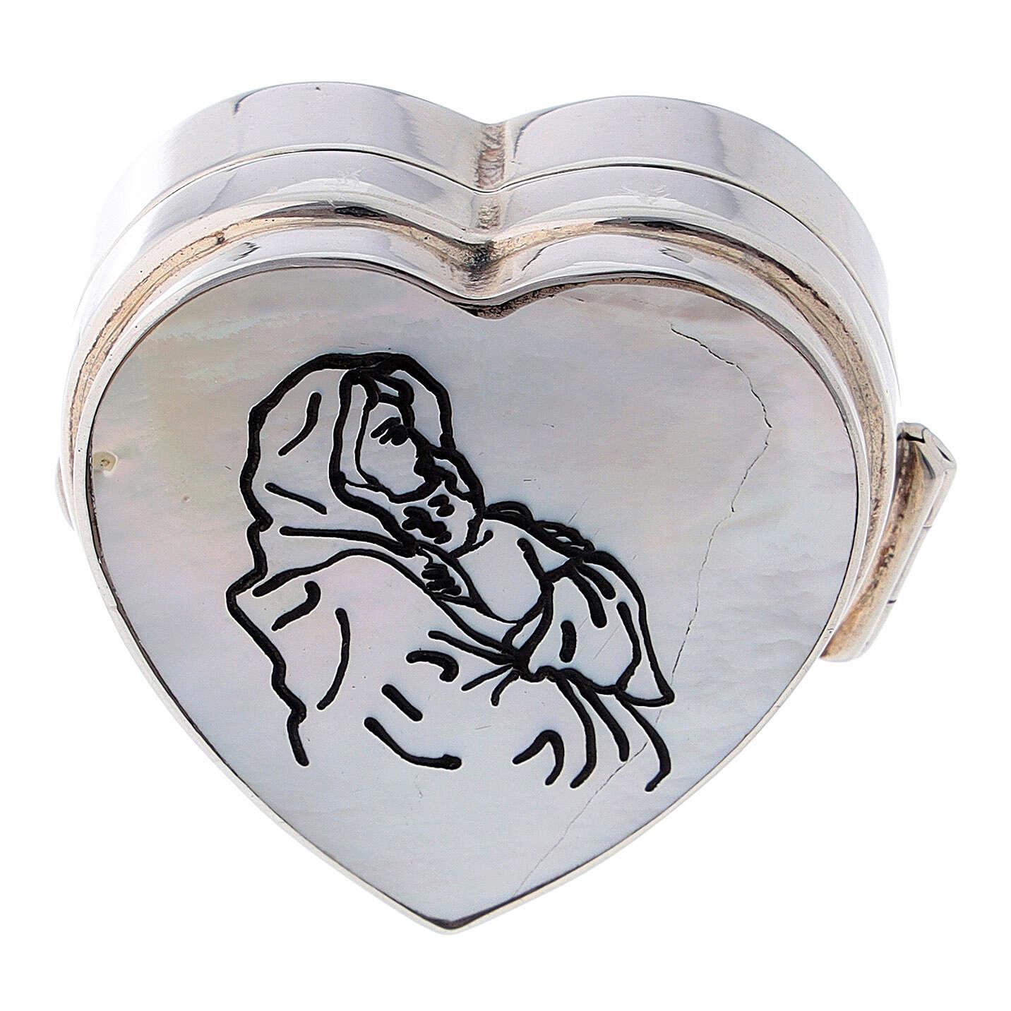 Portarosario cuore Madonna Ferruzzi in argento 925 4