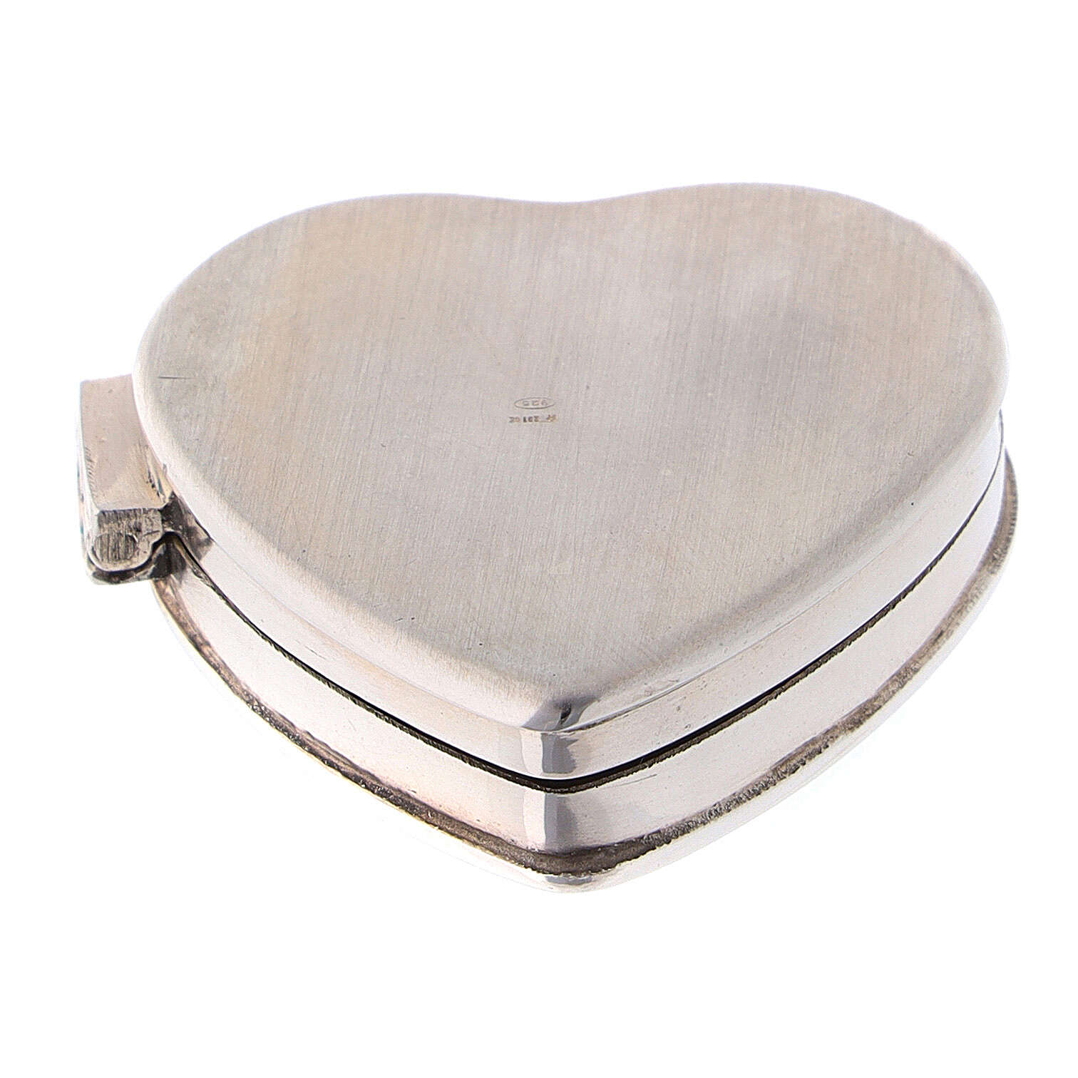 Caja para rosario corazón con incisiones de plata 925 4