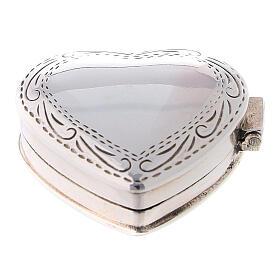 Caja para rosario corazón con incisiones de plata 925 s1