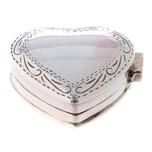 Caja para rosario corazón con incisiones de plata 925 1
