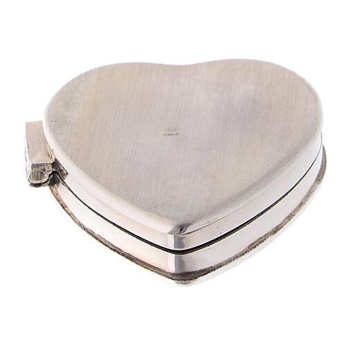Caja para rosario corazón con incisiones de plata 925 3