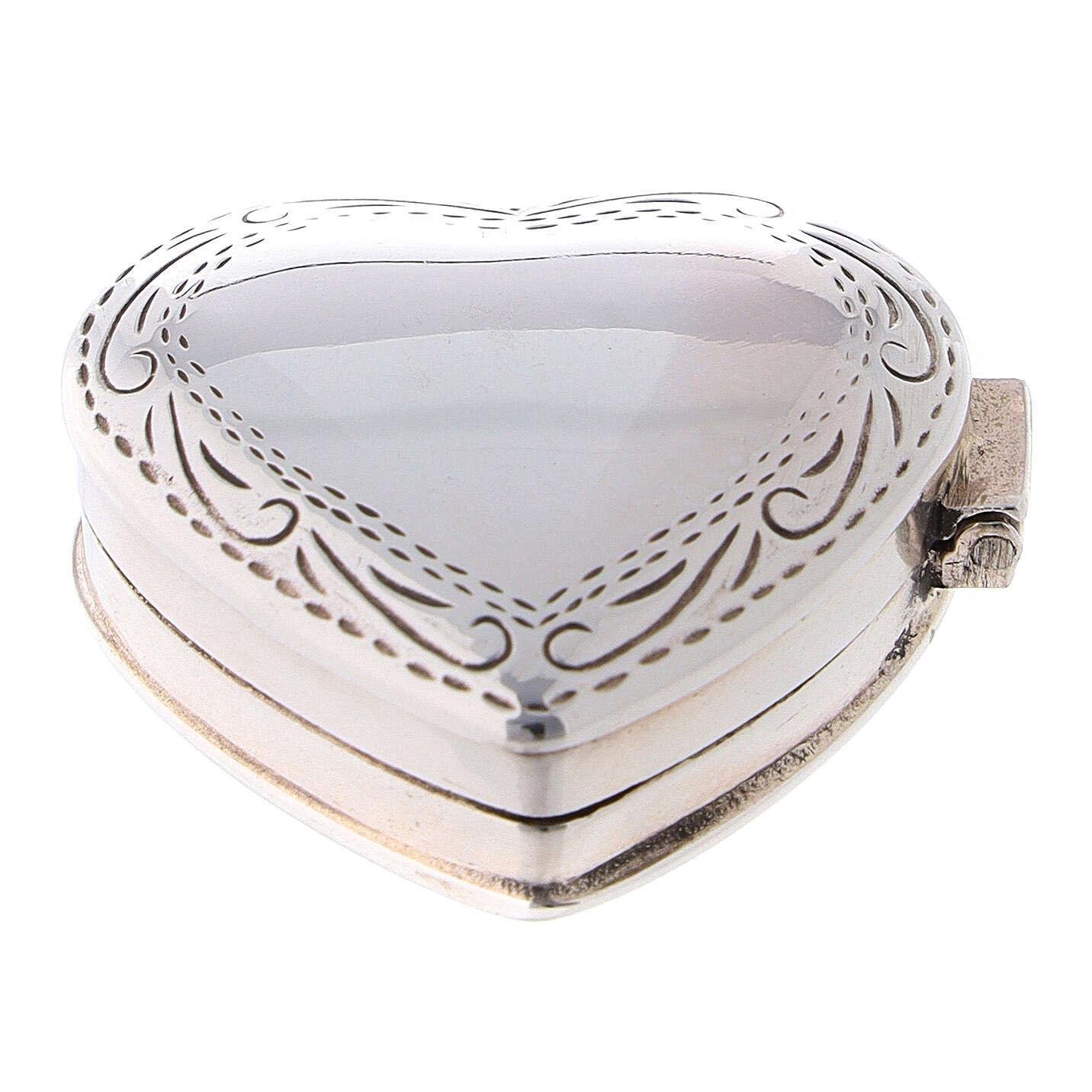 Portarosario cuore con incisioni in argento 925  4