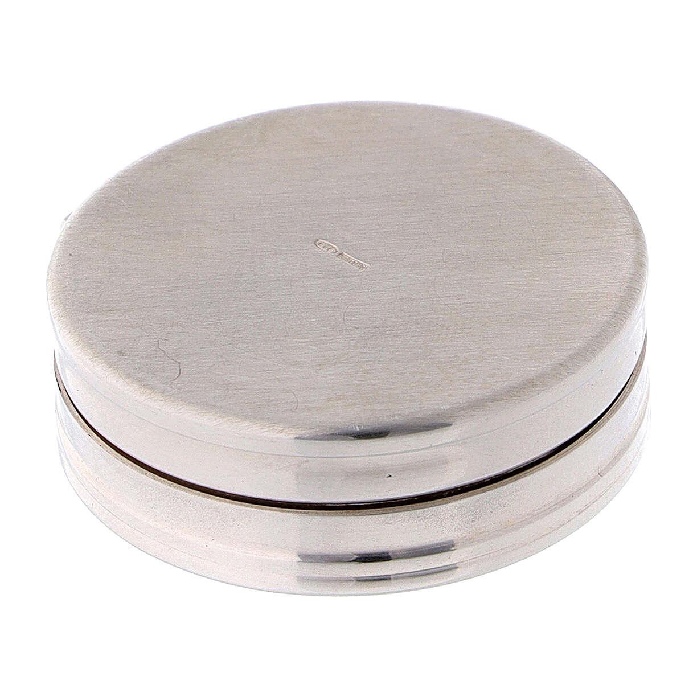 Caja para rosario de plata 925 redonda incisiones 4